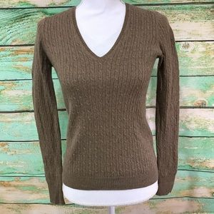 J. Crew cashmere blend Cable Knit Sweater V-neck